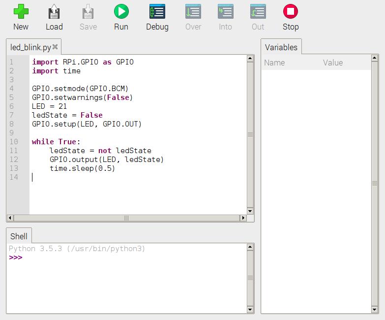 blinking LED Python script