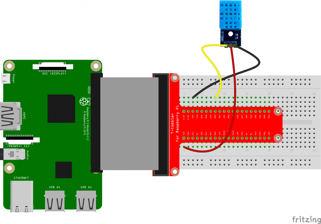 DHT11 connected to Raspberry Pi