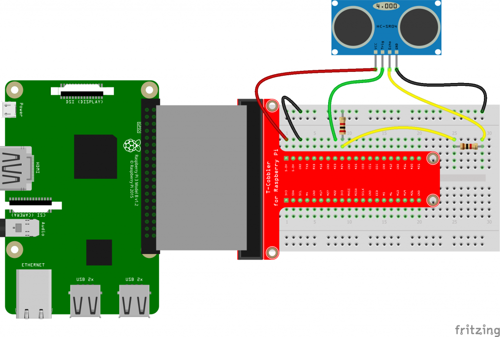 HC-SR04 ultrasonic sensor connected to Raspberry Pi