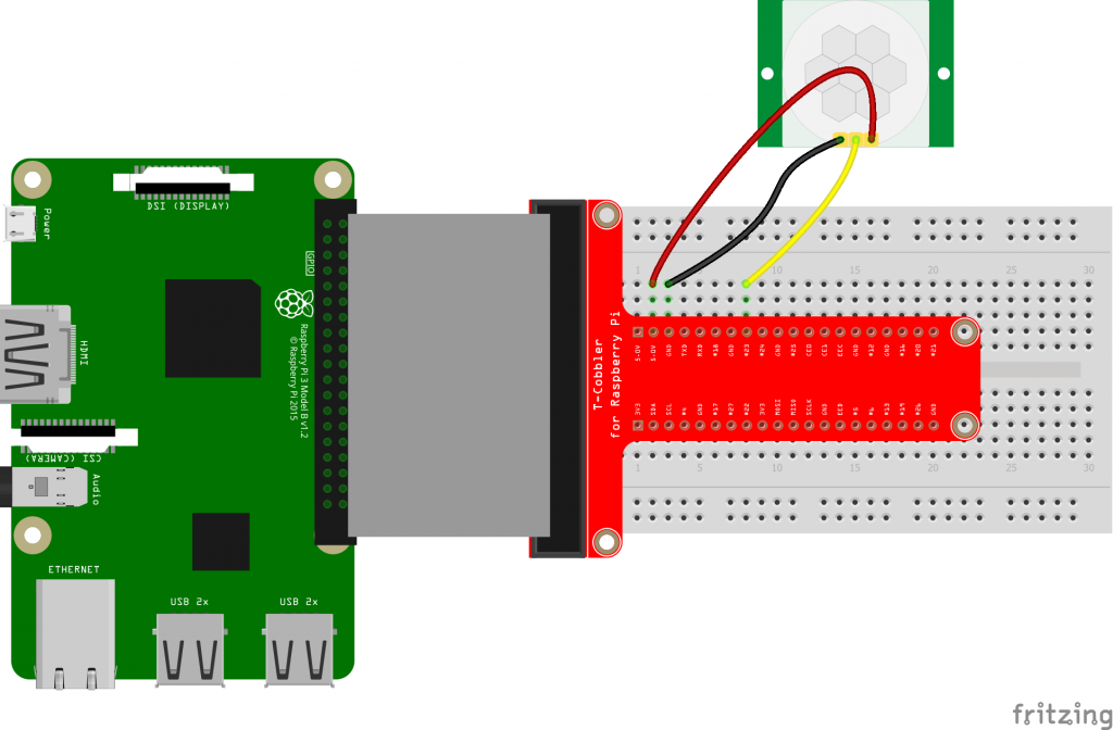 HC-SR501 PIR motion sensor connected to Raspberry Pi