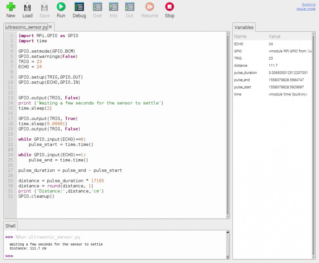 HC-SR04 ultrasone sensor Python script