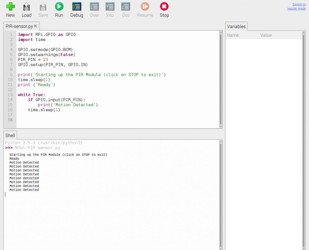 HC-SR501 PIR motion Python script